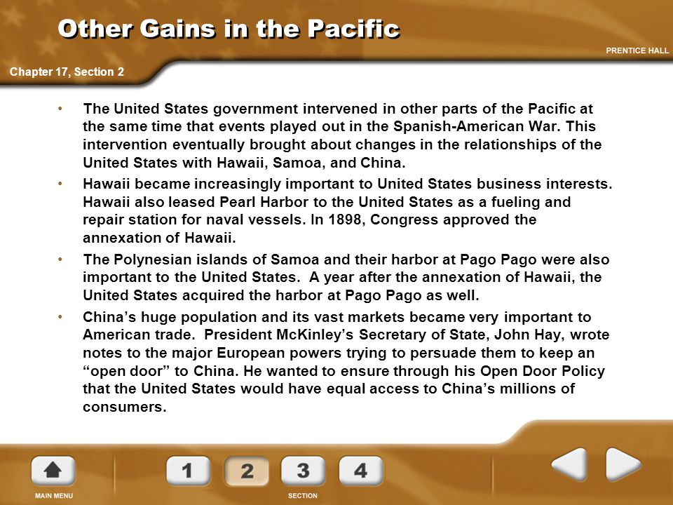 Other Gains in the Pacific The United States government intervened in other parts of the Pacific at the same time that events played out in the Spanis