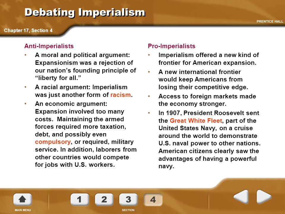 "Debating Imperialism Anti-Imperialists A moral and political argument: Expansionism was a rejection of our nation's founding principle of ""liberty for"