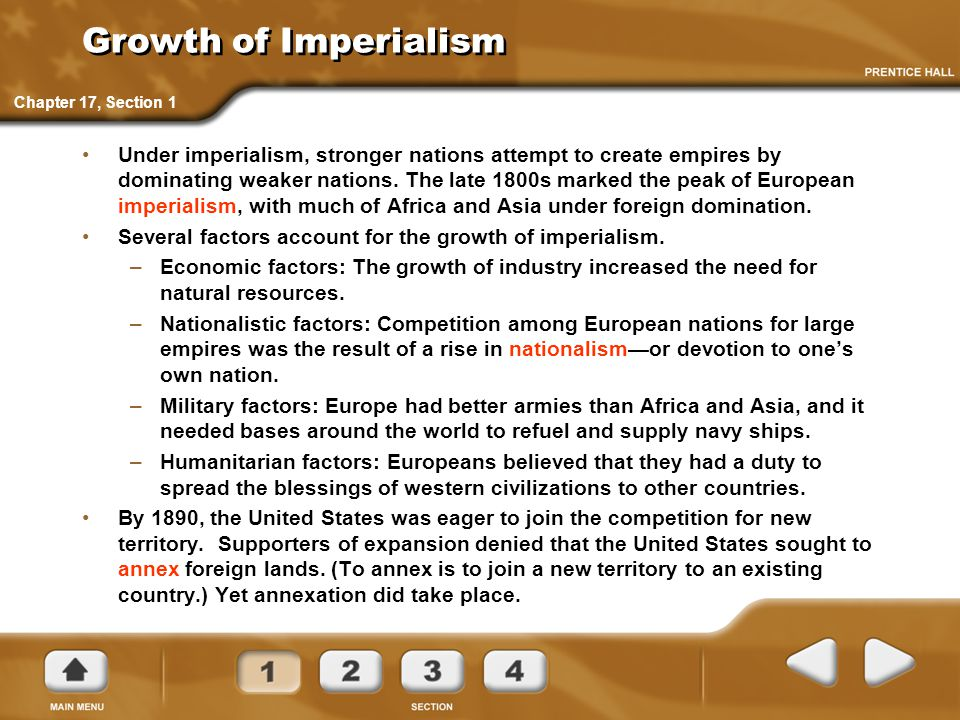 Growth of Imperialism Under imperialism, stronger nations attempt to create empires by dominating weaker nations. The late 1800s marked the peak of Eu