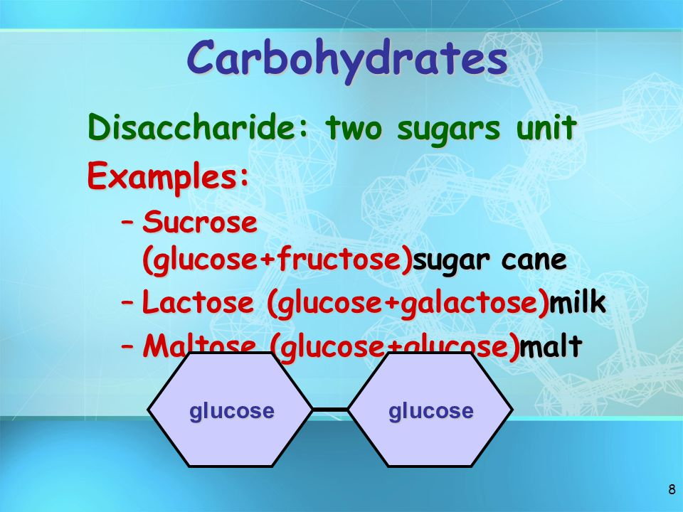 7 Carbohydrates Monosaccharide: one sugar unit Examples (3 most common)1.Glucose Deoxyribose 2,Deoxyribose 3. Ribose 3. Ribose andfructose galactose a