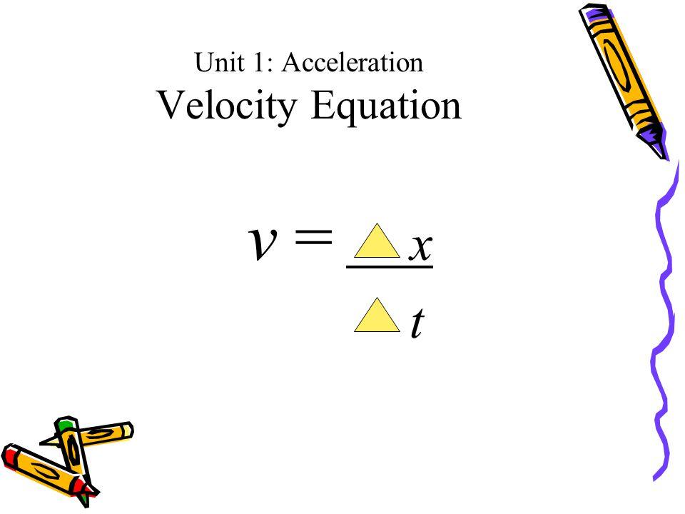 Unit 1: Acceleration Velocity Equation v = x t
