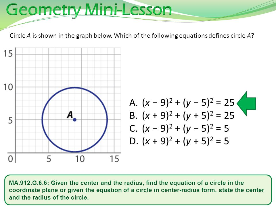 MA.912.G.6.6: Given the center and the radius, find the equation of a circle in the coordinate plane or given the equation of a circle in center-radiu