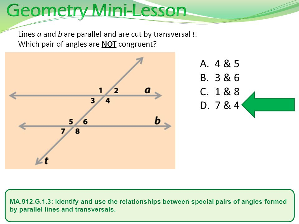 MA.912.G.1.3: Identify and use the relationships between special pairs of angles formed by parallel lines and transversals. Lines a and b are parallel