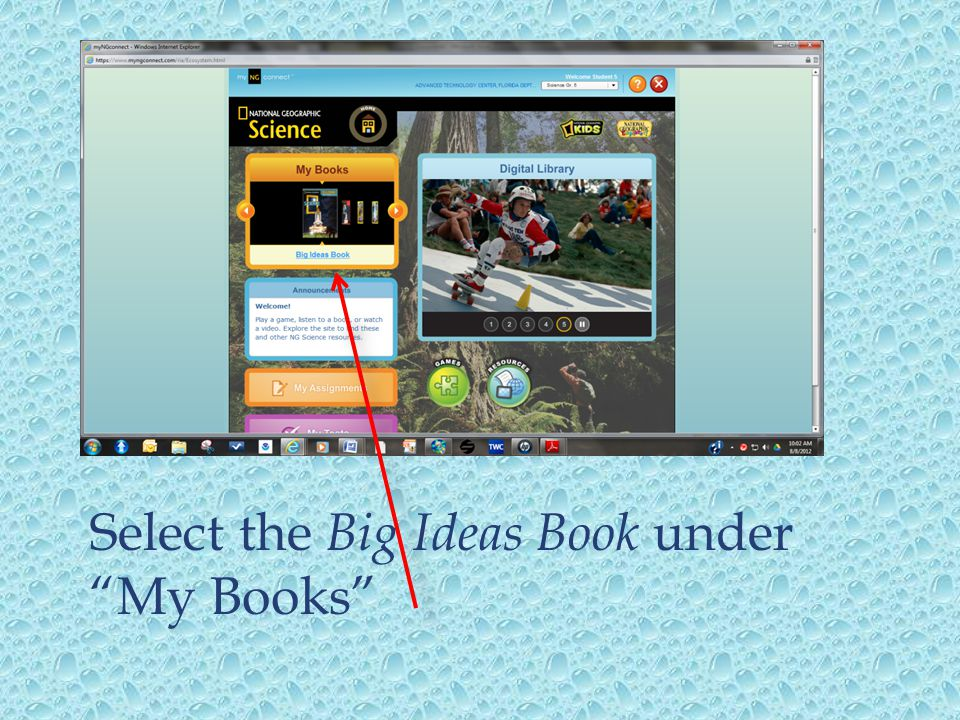 """Select the Big Ideas Book under """"My Books"""""""