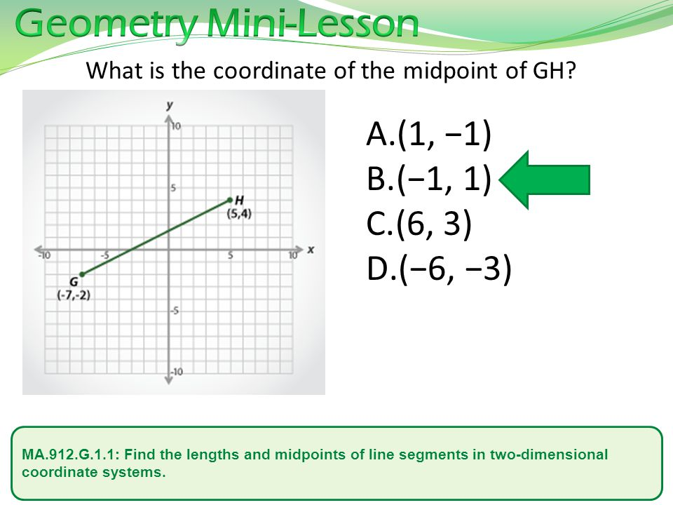 MA.912.G.1.1: Find the lengths and midpoints of line segments in two-dimensional coordinate systems.