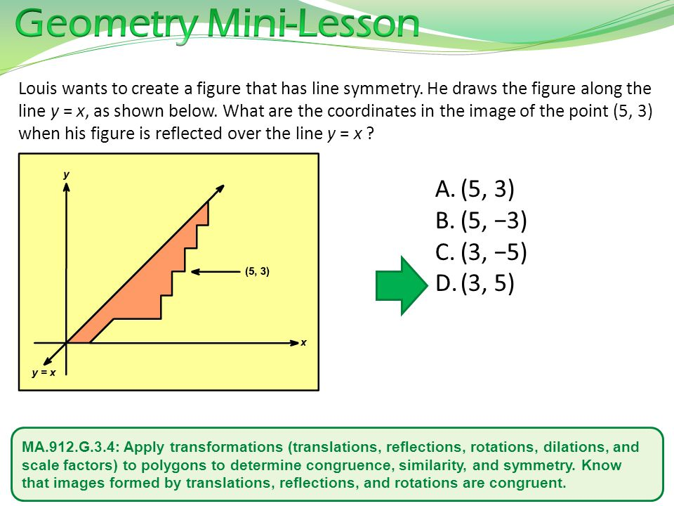 MA.912.G.3.4: Apply transformations (translations, reflections, rotations, dilations, and scale factors) to polygons to determine congruence, similarity, and symmetry.