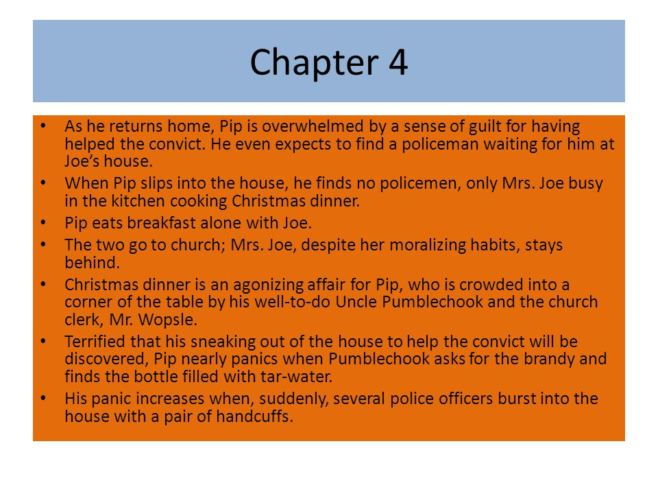 Chapter 4 As he returns home, Pip is overwhelmed by a sense of guilt for having helped the convict.