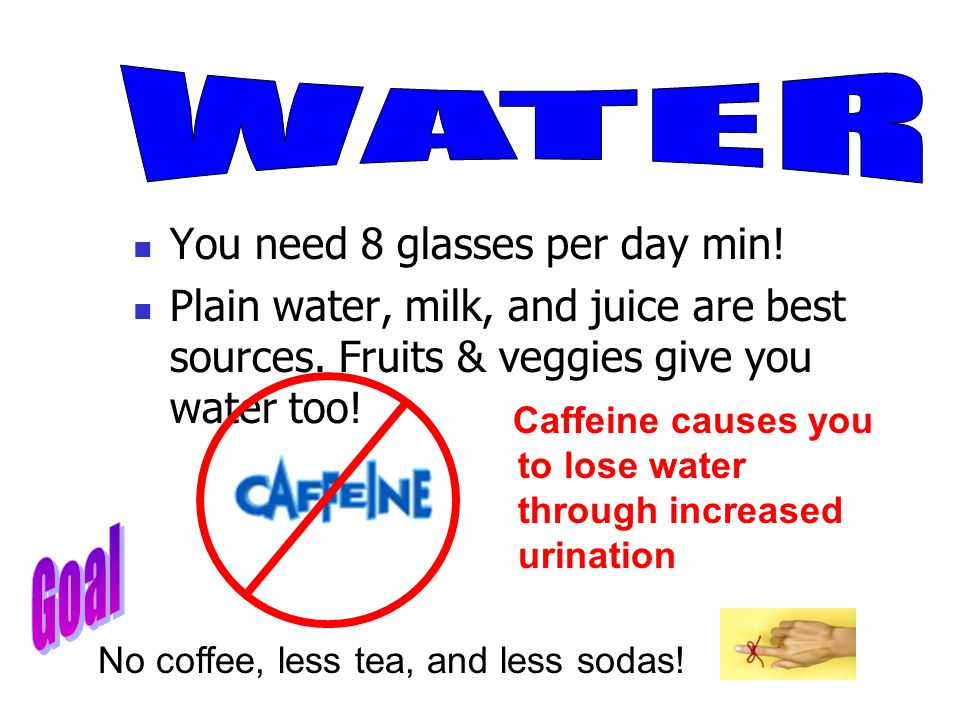 You need 8 glasses per day min. Plain water, milk, and juice are best sources.