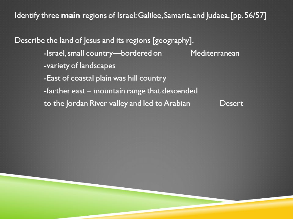 Identify three main regions of Israel: Galilee, Samaria, and Judaea.
