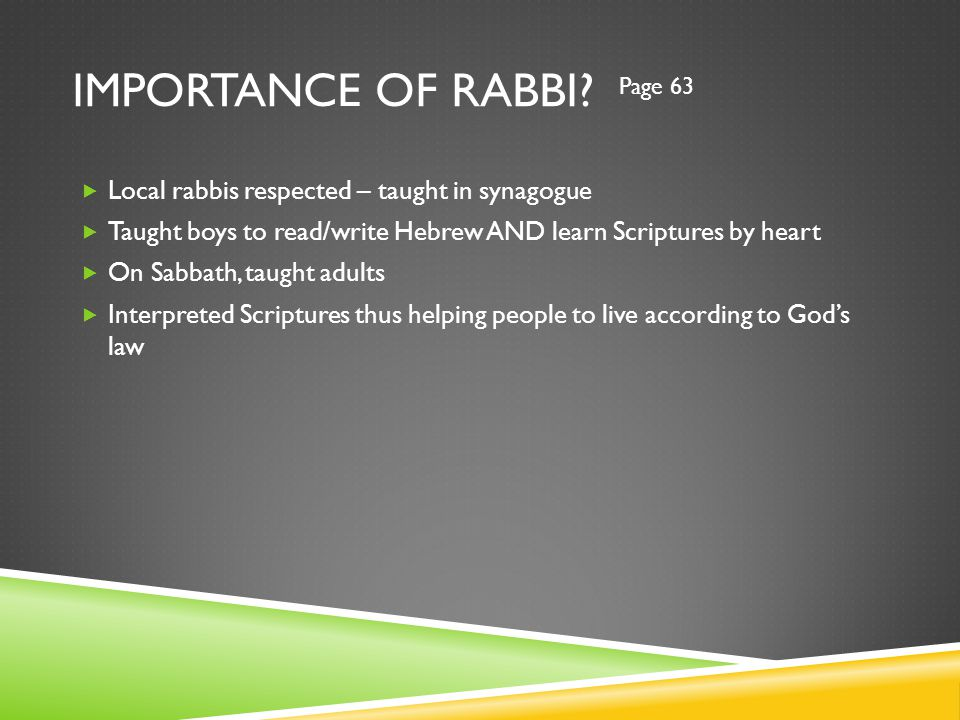 IMPORTANCE OF RABBI.