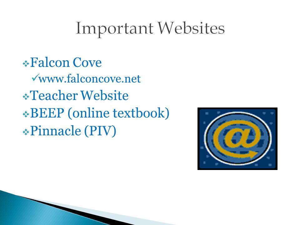  Falcon Cove www.falconcove.net  Teacher Website  BEEP (online textbook)  Pinnacle (PIV)