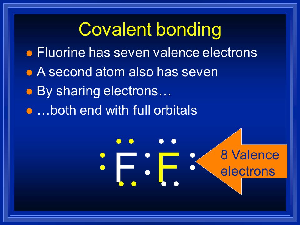 Covalent bonding l Fluorine has seven valence electrons l A second atom also has seven l By sharing electrons… l …both end with full orbitals FF