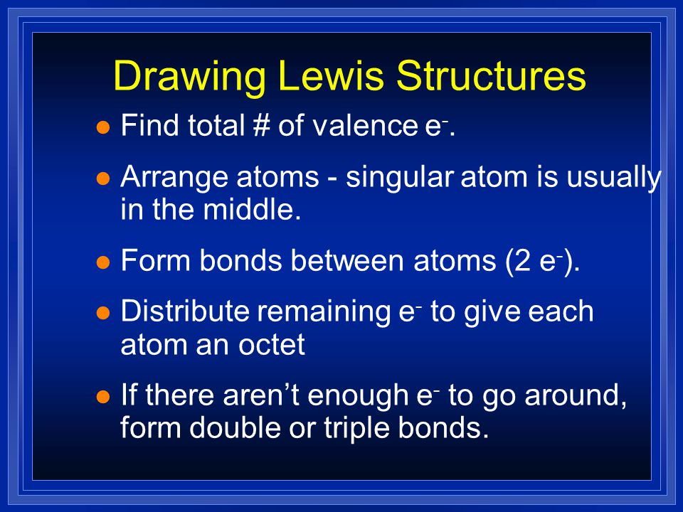 Covalent bonding l Fluorine has seven valence electrons l A second atom also has seven l By sharing electrons… l …both end with full orbitals FF 8 Valence electrons