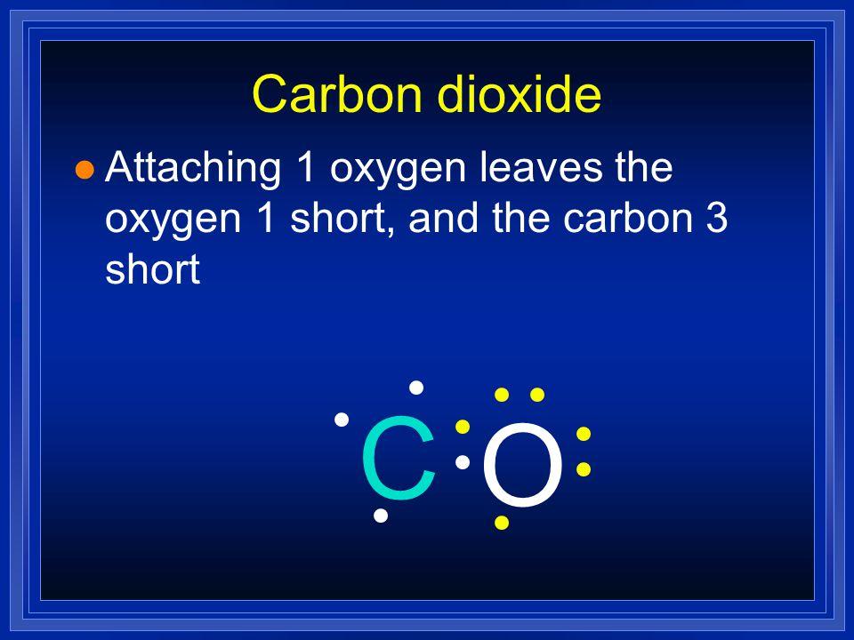 Carbon dioxide l CO 2 - Carbon is central atom ( more metallic ) l Carbon has 4 valence electrons l Oxygen has 6 valence electrons (total of 12e) l 16e must be distributed.