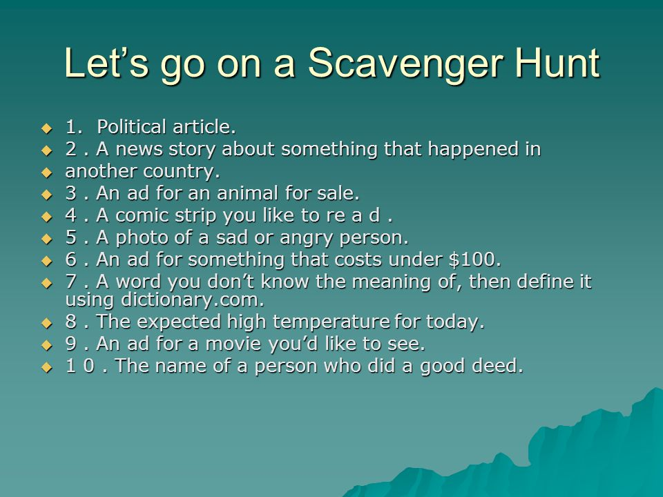 Let's go on a Scavenger Hunt  1. Political article.