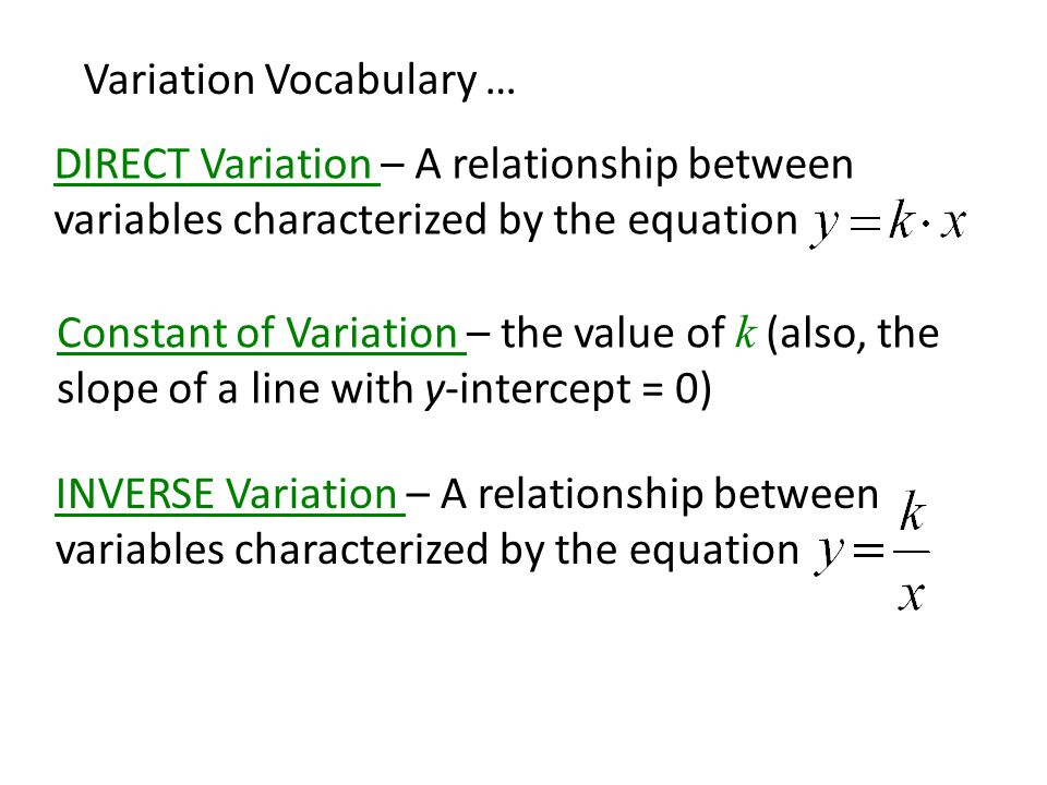 Variation Vocabulary … INVERSE Variation – A relationship between variables characterized by the equation DIRECT Variation – A relationship between variables characterized by the equation Constant of Variation – the value of k (also, the slope of a line with y-intercept = 0)