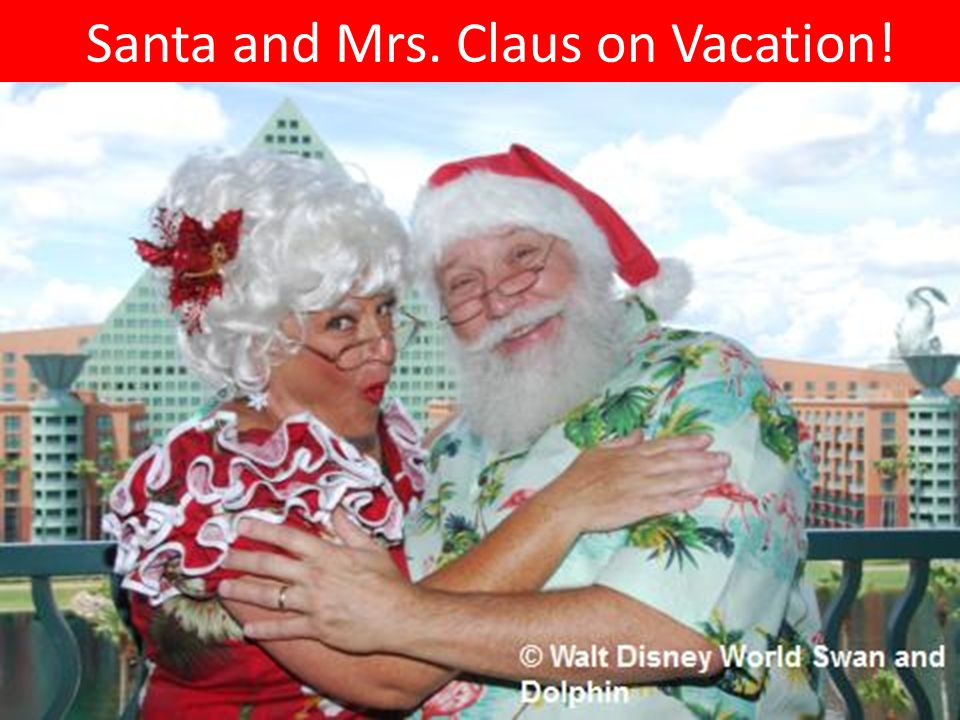 Santa and Mrs. Claus on Vacation!