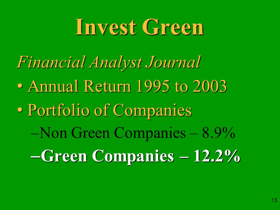 13 Invest Green Financial Analyst Journal Annual Return 1995 to 2003Annual Return 1995 to 2003 Portfolio of CompaniesPortfolio of Companies –Non Green Companies – 8.9% –Green Companies – 12.2%