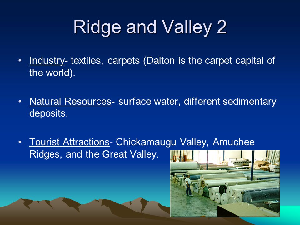 Ridge and Valley 2 Industry- textiles, carpets (Dalton is the carpet capital of the world). Natural Resources- surface water, different sedimentary de