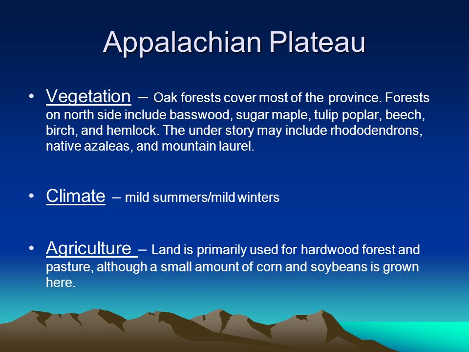 Appalachian Plateau Vegetation – Oak forests cover most of the province. Forests on north side include basswood, sugar maple, tulip poplar, beech, bir