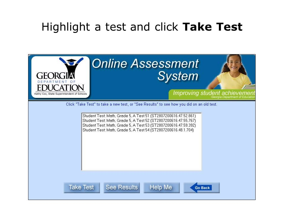 The OAS provides pre-constructed tests for each subject area. Select a subject.