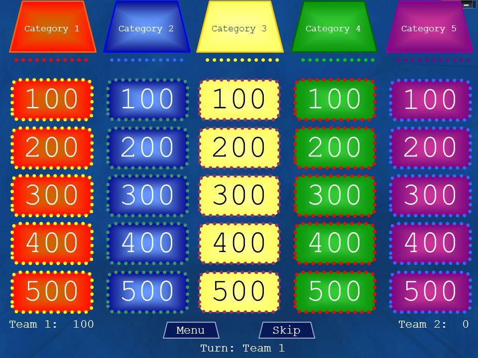 100 500 100 200 100 200 100 200 300 400 300 400 300 400 500 400 Team 2: 0 Turn: Team 1 Team 1: 100 MenuSkip Category 4Category 3Category 2Category 1Category 5