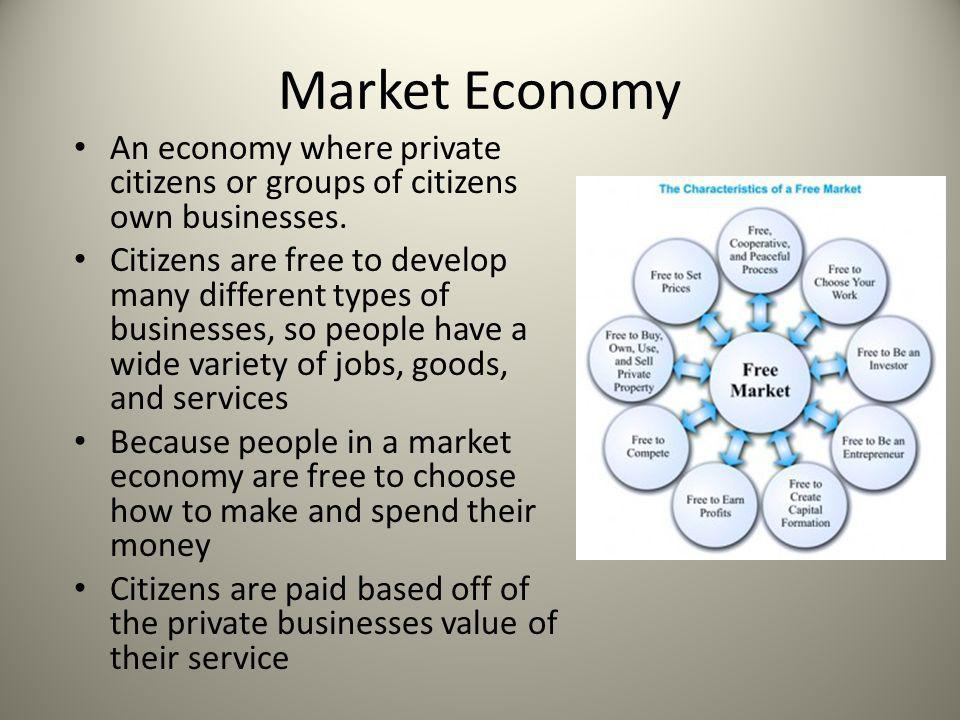 Market Economy An economy where private citizens or groups of citizens own businesses. Citizens are free to develop many different types of businesses