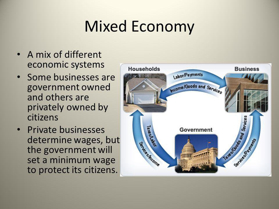 Mixed Economy A mix of different economic systems Some businesses are government owned and others are privately owned by citizens Private businesses d