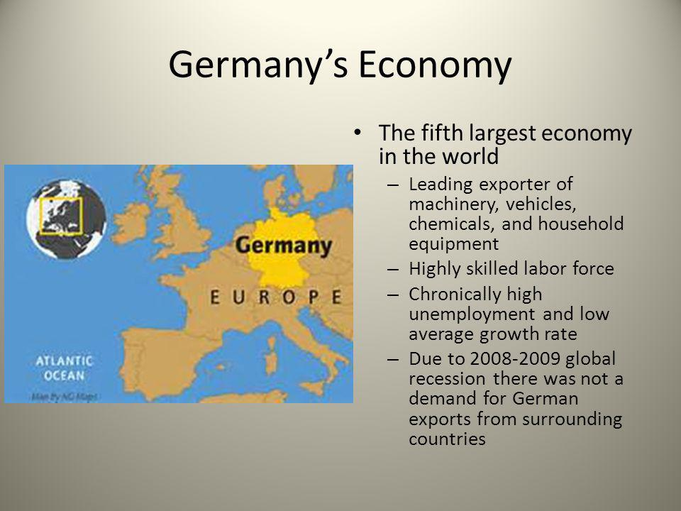 Germany's Economy The fifth largest economy in the world – Leading exporter of machinery, vehicles, chemicals, and household equipment – Highly skille