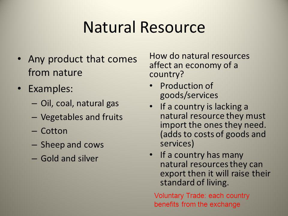 Natural Resource Any product that comes from nature Examples: – Oil, coal, natural gas – Vegetables and fruits – Cotton – Sheep and cows – Gold and si