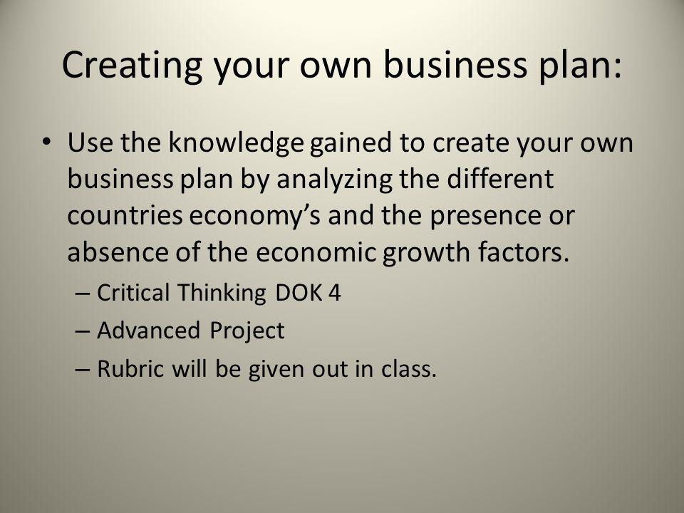 Creating your own business plan: Use the knowledge gained to create your own business plan by analyzing the different countries economy's and the pres