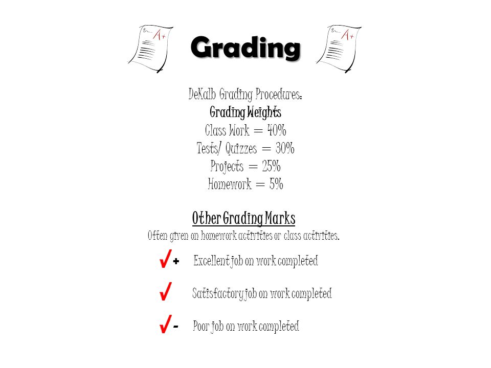 Grading DeKalb Grading Procedures: Grading Weights Class Work = 40% Tests/ Quizzes = 30% Projects = 25% Homework = 5% Other Grading Marks Often given on homework activities or class activities.
