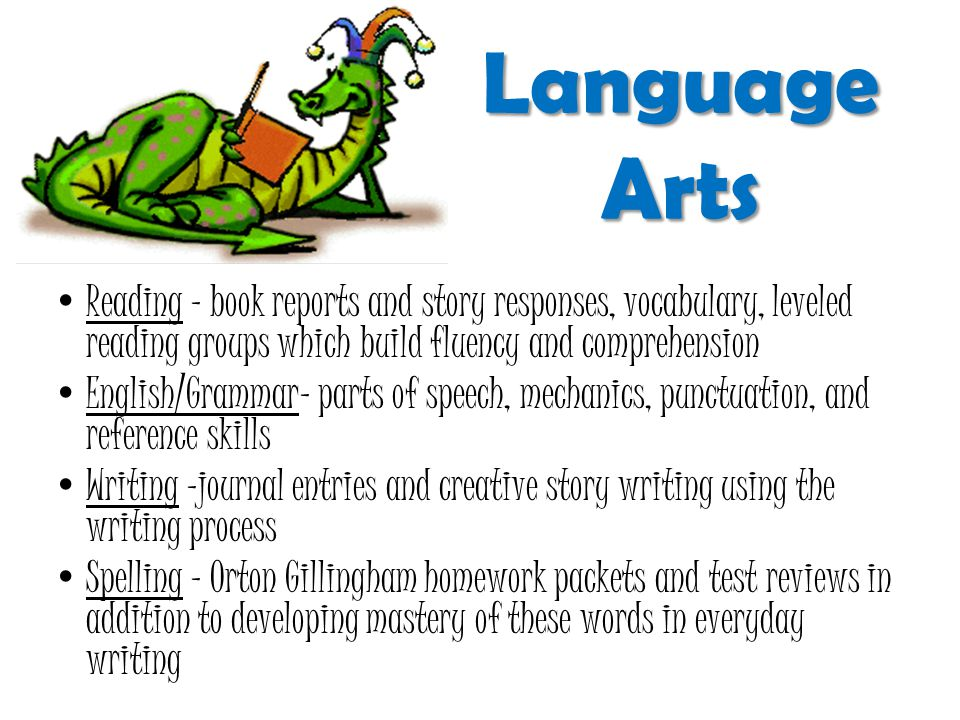 Language Arts Reading – book reports and story responses, vocabulary, leveled reading groups which build fluency and comprehension English/Grammar– parts of speech, mechanics, punctuation, and reference skills Writing –journal entries and creative story writing using the writing process Spelling – Orton Gillingham homework packets and test reviews in addition to developing mastery of these words in everyday writing