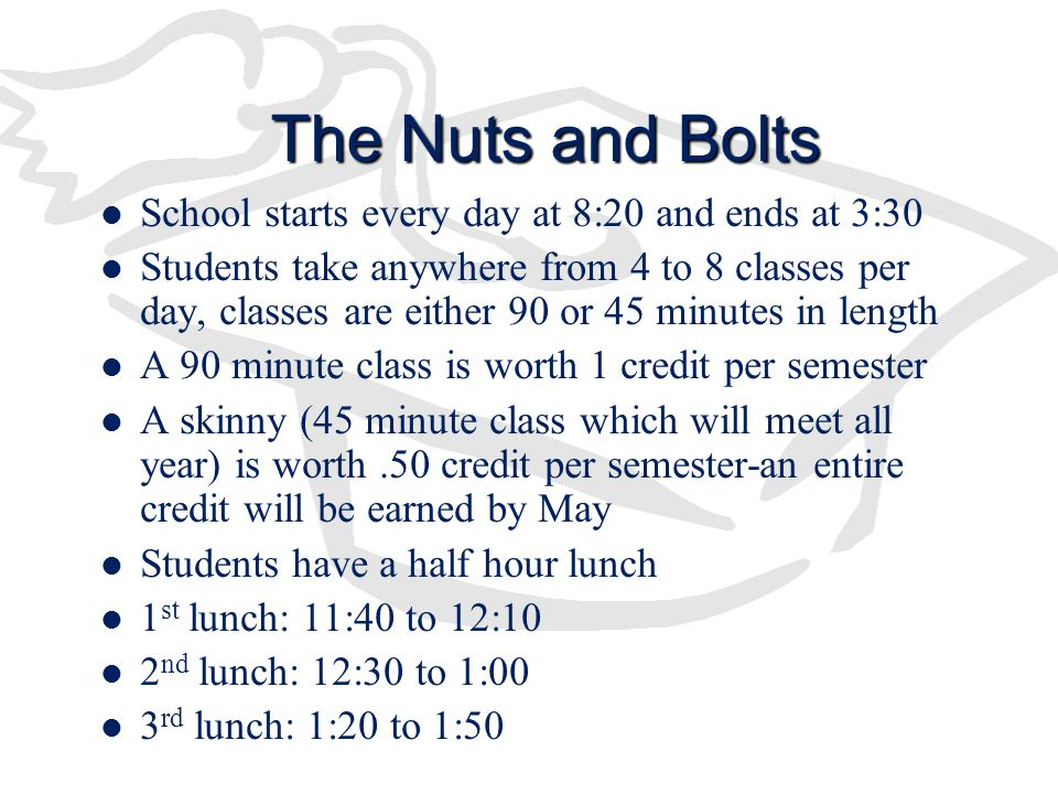 The Nuts and Bolts School starts every day at 8:20 and ends at 3:30 Students take anywhere from 4 to 8 classes per day, classes are either 90 or 45 minutes in length A 90 minute class is worth 1 credit per semester A skinny (45 minute class which will meet all year) is worth.50 credit per semester-an entire credit will be earned by May Students have a half hour lunch 1 st lunch: 11:40 to 12:10 2 nd lunch: 12:30 to 1:00 3 rd lunch: 1:20 to 1:50