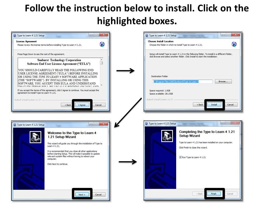 Follow the instruction below to install. Click on the highlighted boxes.