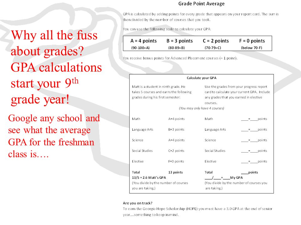 Why all the fuss about grades? GPA calculations start your 9 th grade year! Google any school and see what the average GPA for the freshman class is….