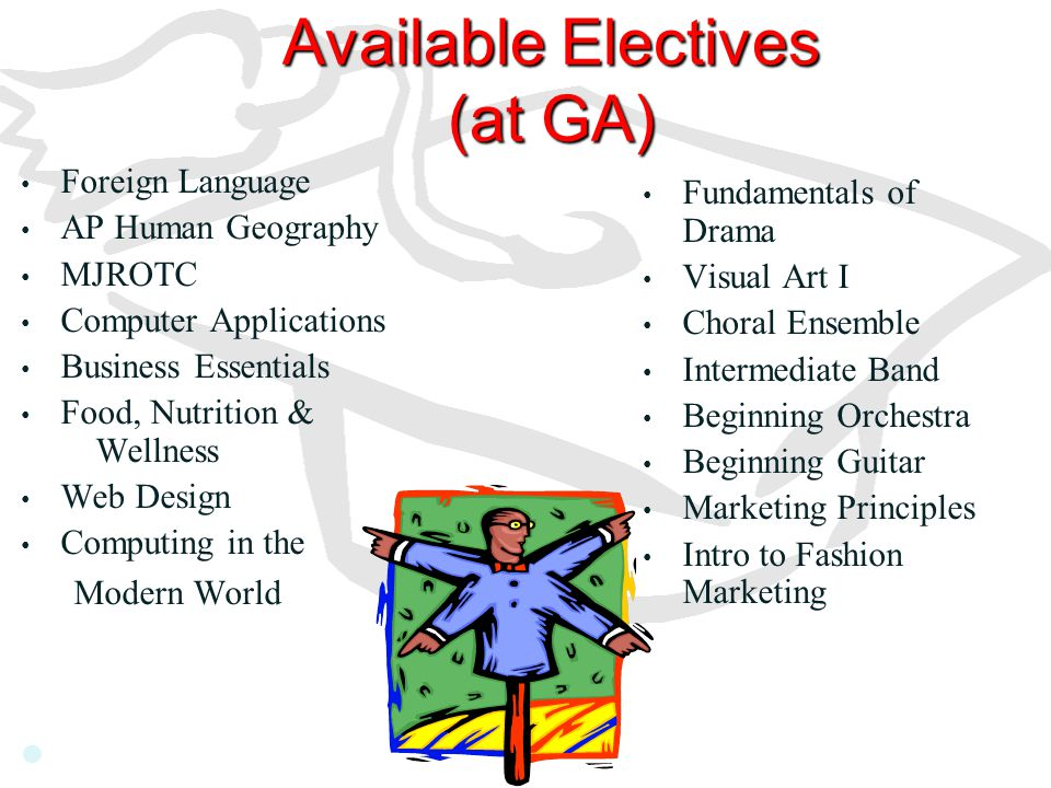 Available Electives (at GA) Foreign Language AP Human Geography MJROTC Computer Applications Business Essentials Food, Nutrition & Wellness Web Design