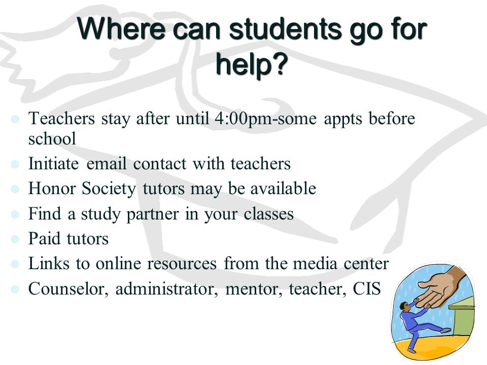Where can students go for help? Teachers stay after until 4:00pm-some appts before school Initiate email contact with teachers Honor Society tutors ma