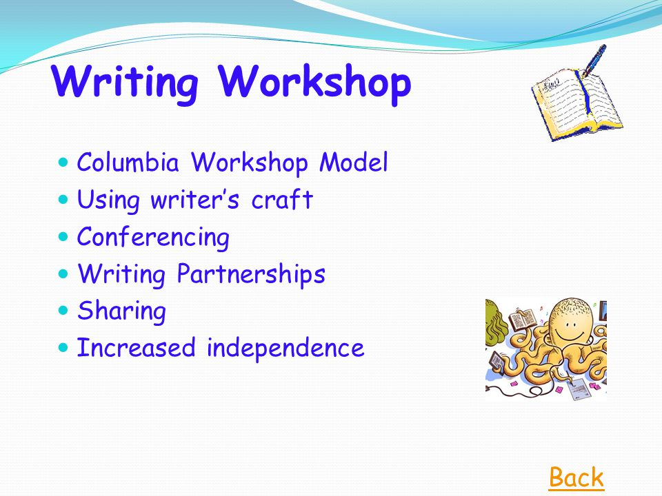 Writing Workshop Columbia Workshop Model Using writer's craft Conferencing Writing Partnerships Sharing Increased independence Back