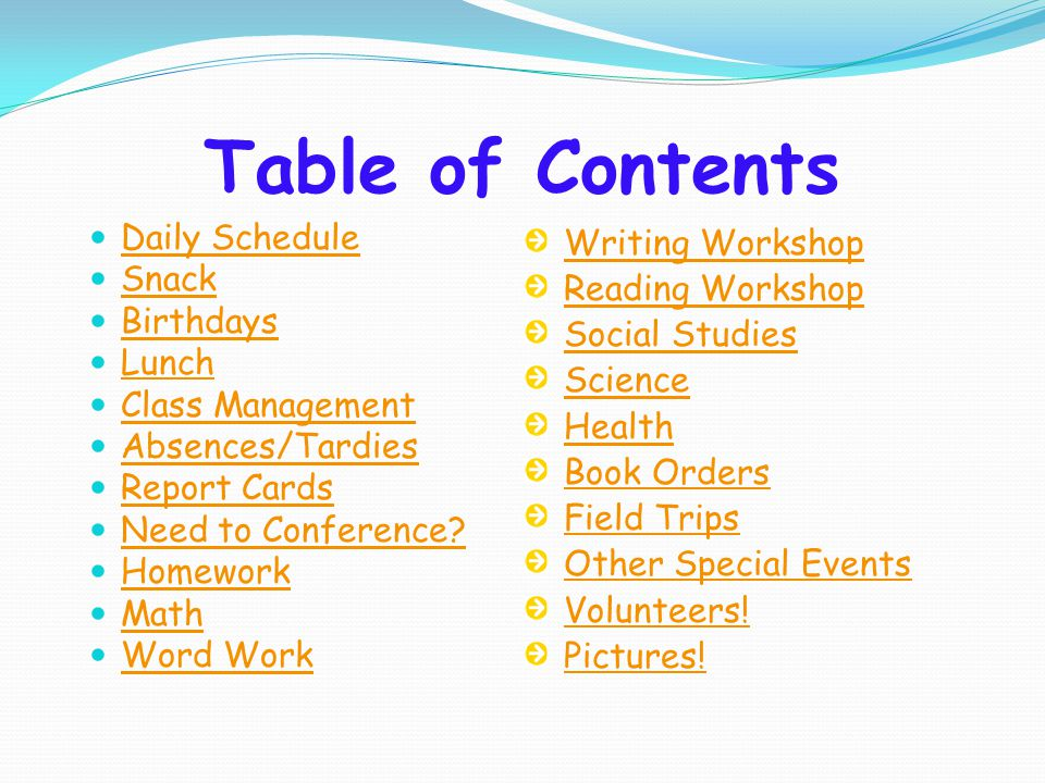Table of Contents Daily Schedule Snack Birthdays Lunch Class Management Absences/Tardies Report Cards Need to Conference? Homework Math Word Work Writ
