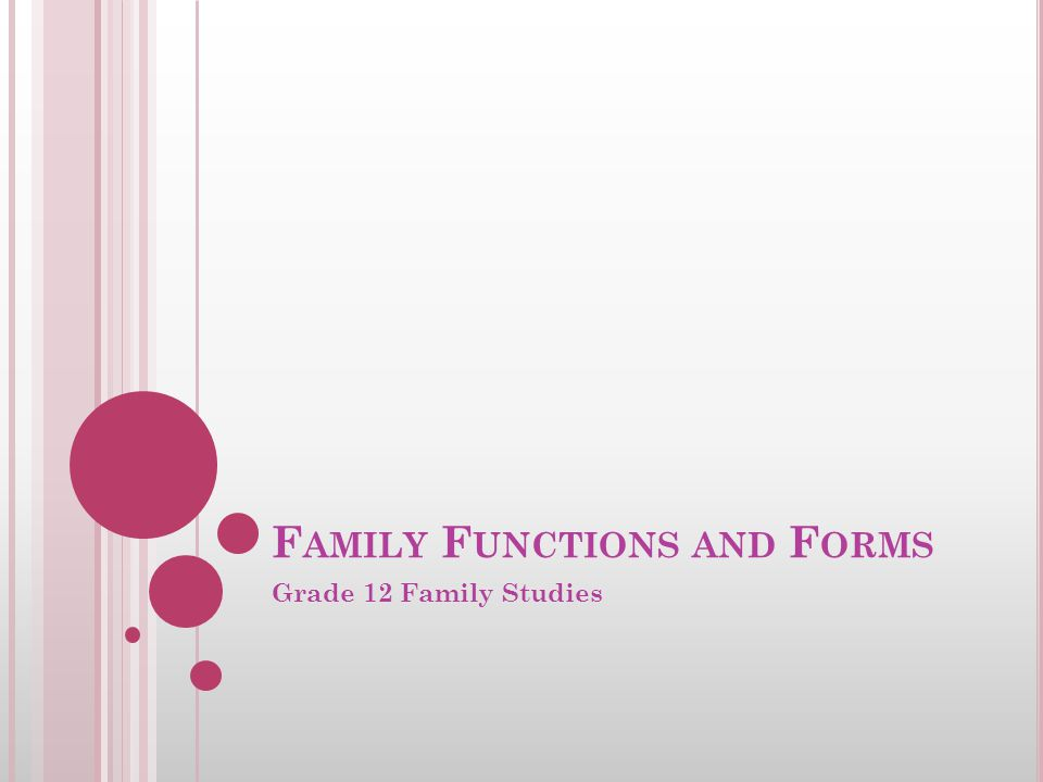 F AMILY F UNCTIONS AND F ORMS Grade 12 Family Studies