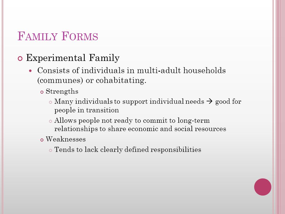 F AMILY F ORMS Experimental Family Consists of individuals in multi-adult households (communes) or cohabitating. Strengths Many individuals to support