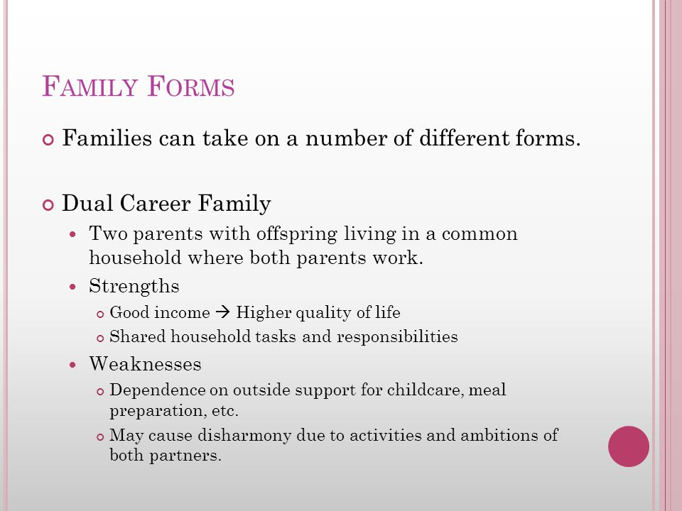 F AMILY F ORMS Families can take on a number of different forms. Dual Career Family Two parents with offspring living in a common household where both