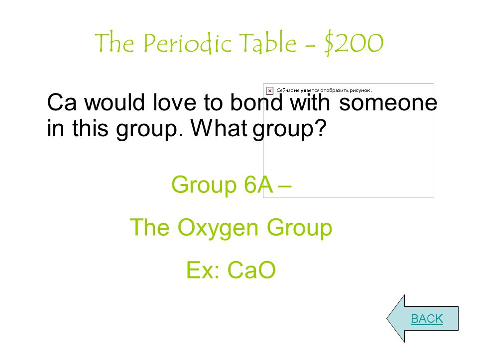 The Periodic Table - $200 Ca would love to bond with someone in this group.