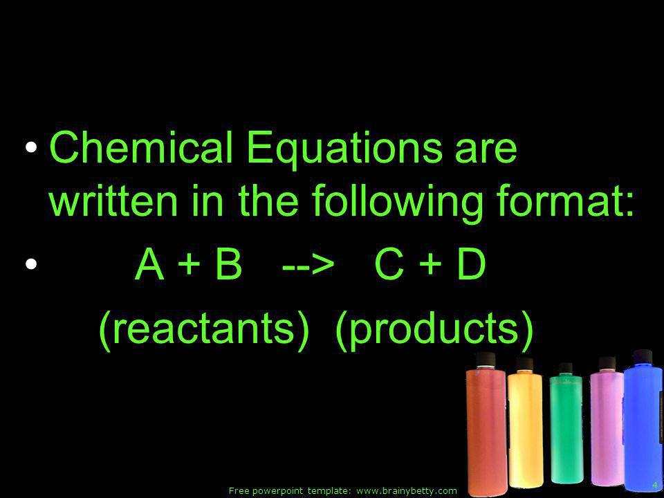Free powerpoint template: www.brainybetty.com 25 General scheme of Decomposition reactions AX --> A + X Examples: 1) Decomposition of binary compounds Electrolysis of water is an excellent example.