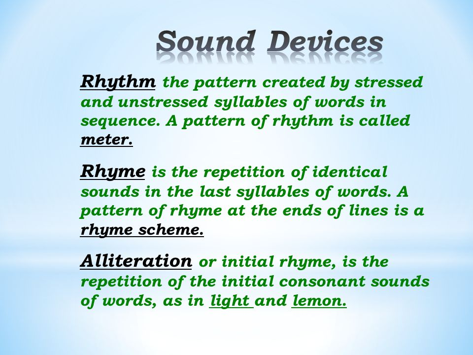 Assonance or vowel rhyme, is the repetition of vowel sounds in nearby words, as in the words date and fade.