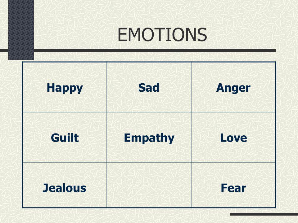 EMOTIONS HappySadAnger GuiltEmpathyLove JealousFear