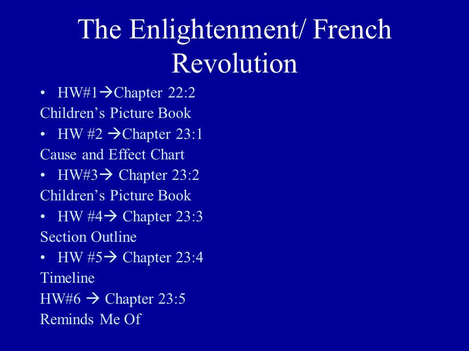 The Enlightenment/ French Revolution HW#1  Chapter 22:2 Children's Picture Book HW #2  Chapter 23:1 Cause and Effect Chart HW#3  Chapter 23:2 Child