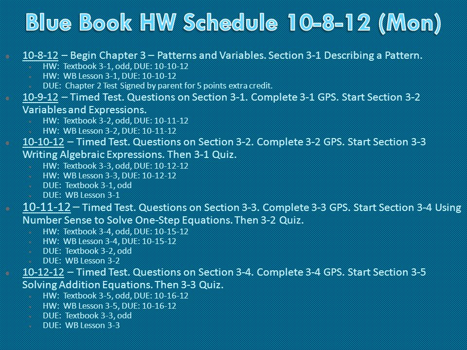  10-8-12 – Begin Chapter 3 – Patterns and Variables.