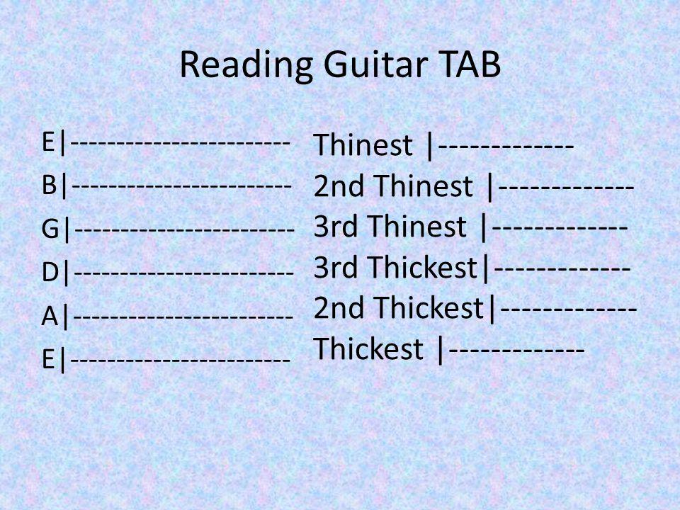 Reading Guitar TAB E|------------------------ B|------------------------ G|------------------------ D|------------------------ A|------------------------ E|------------------------ Thinest |------------- 2nd Thinest |------------- 3rd Thinest |------------- 3rd Thickest|------------- 2nd Thickest|------------- Thickest |-------------